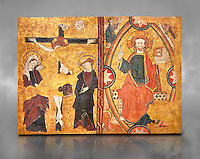 Gothic Panel from the tomb of the Knight Sancho Sanchez Carillo . Polychrome and gold leaf on wood by the Circle of Gil de Siloe around 1500, probably from Castella. Inv MNAC 64028. National Museum of Catalan Art (MNAC), Barcelona, Spain. Against a grey textured background.