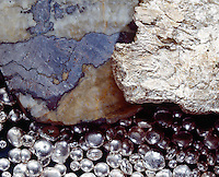 SILVER (Ag) - In Its Different Forms<br /> Left: Silver vein in calcite matrix. Right: Leaf Silver-Konigsbergite. Background: Silver shot