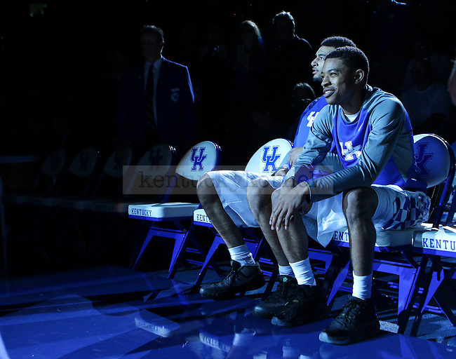 Tyler Ulis and Jamal Murray of the Kentucky Wildcats wait to be introduced before the exhibition game against the Kentucky State Thorobreds at Rupp Arena on November 6, 2015 in Lexington, Kentucky. Kentucky defeated Kentucky State 111-58. Photo by Taylor Pence