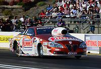 May 18, 2012; Topeka, KS, USA: NHRA pro stock driver Jason Line during qualifying for the Summer Nationals at Heartland Park Topeka. Mandatory Credit: Mark J. Rebilas-