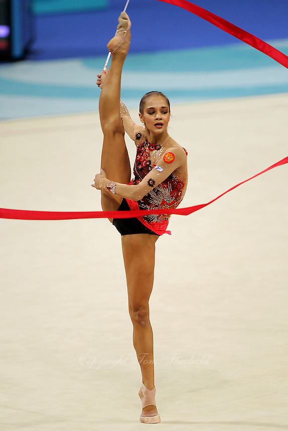 Irina Tchachina of Russia turns pirouette with ribbon during qualification round at 2004 Athens Olympic Games on August 27, 2006 at Athens, Greece. Irina won silver in the All-Around final. (Photo by Tom Theobald)