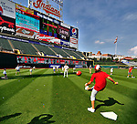 """6 September 2009: Cleveland Indians' utilityman Jamey Carroll plays kickball with kids in the """"Kick-It"""" program designed to unite communities in the fight against pediatric cancer. The activity took place after a game against the Minnesota Twins at Progressive Field in Cleveland, Ohio. The Indians defeated the Twins 3-1 to take the rubber match of their three-game weekend series. Mandatory Credit: Ed Wolfstein Photo"""