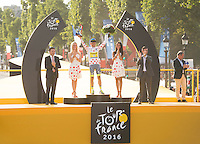 Picture by Alex Broadway/ASO/SWpix.com - 24/07/16 - Cycling - Tour de France 2016 - Stage Twenty-One - Chantilly to Paris Champs-&Eacute;lys&eacute;es - Rafal Majka of Poland and Tinkoff celebrates on the podium after winning the Polka Dot Jersey.<br />