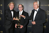 LOS ANGELES - APR 29:  Pat Sajak, Harry Friedman, Alex Trebek at the 2017 Creative Daytime Emmy Awards at the Pasadena Civic Auditorium on April 29, 2017 in Pasadena, CA