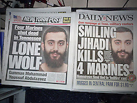 Front pages of the NY Daily News and the NY Post on Friday, July 17, 2015 report on the previous day's shootings at Armed Forces facilities in Tennessee by 24 year old Mohammad Youssef Abdulazeez.  (© Richard B. Levine)