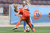 Houston, TX - Saturday April 15, 2017: Rachel Daly and Julie Ertz battle for control of the ball during a regular season National Women's Soccer League (NWSL) match won by the Houston Dash 2-0 over the Chicago Red Stars at BBVA Compass Stadium.