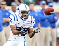 Duke wide receiver Donovan Varner (26) makes a catch during an ACC football game against Virginia Saturday in Charlottesville, VA. Duke won 28-17. Photo/Andrew Shurtleff