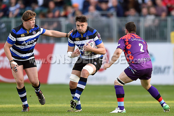 Elliott Stooke of Bath United in possession. Remembrance Rugby match, between Bath United and the UK Armed Forces on May 10, 2017 at the Recreation Ground in Bath, England. Photo by: Patrick Khachfe / Onside Images
