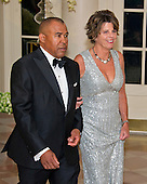 Wayne Jordan, Executive, Founder &amp; Principal, Jordan Real Estate Investments, and Quinn Delaney arrive for the State Dinner in honor of Prime Minister Trudeau and Mrs. Sophie Gr&eacute;goire Trudeau of Canada at the White House in Washington, DC on Thursday, March 10, 2016.<br /> Credit: Ron Sachs / Pool via CNP