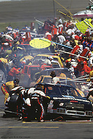 MARTINSVILLE, VA - APRIL 24: Dale Earnhardt makes a pit stop during the Hanes 500 on April 24, 1994, at Martinsville Speedway near Martinsville, Virginia.