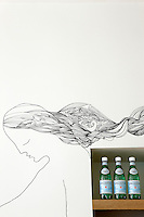 The flowing hair of a painted figure by artist Jesper Waldensten decorates a wall in the kitchen above a shelf containing bottles of mineral water