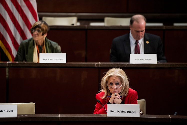 "UNITED STATES - FEBRUARY 10: From left, Rep. Rosa DeLauro, D-Conn., Rep. Debbie Dingell, D-Mich., and Rep. Dan Kildee, D-Mich., participate in the House Democratic Steering & Policy Committee hearing on ""The Flint Water Crisis: Lessons for Protecting America's Children"" on Wednesday, Feb. 10, 2016. (Photo By Bill Clark/CQ Roll Call)"