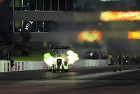 May 20, 2011; Topeka, KS, USA: NHRA top fuel dragster driver Terry McMillen during qualifying for the Summer Nationals at Heartland Park Topeka. Mandatory Credit: Mark J. Rebilas-