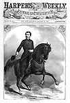 Union Army General &quot;Little Mac&quot; George B. McClellan on horseback. Harper's Weekly newspaper  Cover January 25, 1862. He later ran as the Democratic candidate for president in 1864 against Republican President Lincoln's second term.  He was popular in the early days of the Civil War, but was relieved of his command when he failed to act aggressively in the Peninsula Campaign, losing any chance to end the war in 1862 or 1863.