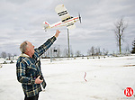 TORRINGTON, CT - 02 MARCH 2010 -030210JT04--<br /> Tim Seebach, of Torrington, flies his battery-powered park flyer airplane at the Bishop Donnelly Sports Complex in Torrington on Tuesday, taking advantage of the day's calm winds.<br /> Josalee Thrift Republican-American