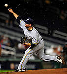 22 August 2009: Milwaukee Brewers' starting pitcher Mike Burns on the mound against the Washington Nationals at Nationals Park in Washington, DC. The Brewers defeated the Nationals 11-9 in the second game of their four-game series. Mandatory Credit: Ed Wolfstein Photo