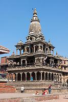 Nepal, Patan.  Krishna Mandir, Durbar Square, February 18, 2009.  Survived earthquake of April 2015.