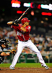 22 August 2009: Washington Nationals' infielder Mike Morse in action against the Milwaukee Brewers at Nationals Park in Washington, DC. The Nationals fell to the Brewers 11-9 in the second game of their four-game series. Mandatory Credit: Ed Wolfstein Photo