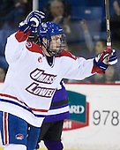 The River Hawks celebrate Riley Wetmore's first goal which opened scoring in the game late in the first period. - The visiting Minnesota State University-Mankato Mavericks defeated the University of Massachusetts-Lowell River Hawks 3-2 on Saturday, November 27, 2010, at Tsongas Arena in Lowell, Massachusetts.