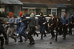 Hoods Catholic youths riot Belfast Northern Ireland 1981