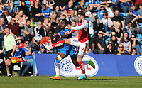 Gillingham's Adedeji Oshilaja and Fleetwood Town's Wes Burns<br /> <br /> Photographer Rob Newell/CameraSport<br /> <br /> The EFL Sky Bet League One - Gillingham v Fleetwood Town - Saturday 22nd April 2017 - MEMS Priestfield Stadium - Gillingham<br /> <br /> World Copyright &not;&copy; 2017 CameraSport. All rights reserved. 43 Linden Ave. Countesthorpe. Leicester. England. LE8 5PG - Tel: +44 (0) 116 277 4147 - admin@camerasport.com - www.camerasport.com