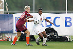 05 November 2008: Florida State's Tiffany McCarty (14) and Virginia Tech's Kelsey Billups (23). Virginia Tech and Florida State University played to a 0-0 tie after two overtimes at Koka Booth Stadium at WakeMed Soccer Park in Cary, NC in a women's ACC tournament quarterfinal game.  Virginia Tech advanced to the semifinal round in penalty kicks, 4-2.