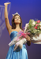 12 July, 2008:  And emotional 2007 Miss Washington and second runner up in the Miss America pageant Elyse Umemoto said good bye to the crowd during the crowning of the 2008 Miss Washington in the Pantages Theater in Tacoma , Washington.