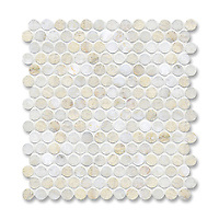 2 cm Pennyrounds shown in Cloud Nine (available in polished or honed finish) is part of New Ravenna's Studio Line. All mosaics in this collection are ready to ship within 48 hours.<br />