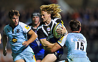 Tom Biggs goes on the attack. Aviva Premiership match, between Bath Rugby and Northampton Saints on September 14, 2012 at the Recreation Ground in Bath, England. Photo by: Patrick Khachfe / Onside Images