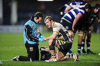 Mike Haywood of Northampton Saints is treated for an injury during a break in play. Aviva Premiership match, between Bath Rugby and Northampton Saints on February 10, 2017 at the Recreation Ground in Bath, England. Photo by: Patrick Khachfe / Onside Images