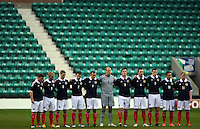 Vauxhall Under-21 International Challenge Match.Scotland v Italy ..Scotland squad observes a minutes silence in this evenings  Vauxhall Under-21 International Challenge Match between Scotland U21 and Italy u21...At Easter Road Stadium, Edinburgh...Picture, Craig Brown ..Wednesday 25th April 2012.