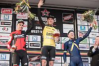 The 1st Dwars door West-Vlaanderen 2017 (1.1) podium:<br /> 1/ Jos Van Emden (NED/Team Lotto NL-Jumbo)<br /> 2/ Silvan Dillier (SUI/BMC Racing Team)<br /> 3/ Lasse Norman Hansen (DEN/Aqua Blue Sport)