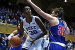 19 December 2014: Duke's Amber Henson (30) and UMass Lowell's Lauren Parra (32). The Duke University Blue Devils hosted the University of Massachusetts Lowell River Hawks at Cameron Indoor Stadium in Durham, North Carolina in a 2014-15 NCAA Division I Women's Basketball game. Duke won the game 95-48.