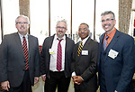 Waterbury, CT- 16 March 2017-031617CM12- Social moments from left, MC Tom Chute, Derek Noble, with Steffian Bradley Architects, Glenn Davis with Liberty Bank, and Ron Quicquaro with Studio Q Architecture<br />  are photographed during The Neighborhood Housing Services of Waterbury Home Matters dinner and benefit at La Bella Vista inWaterbury on Thursday.   Christopher Massa Republican-American