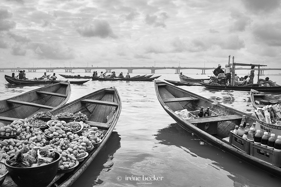 Vendors and purchasers floating in boats in Lagos Lagoon