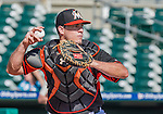 10 March 2015: Miami Marlins catcher Jacob Realmuto warms up prior to a Spring Training game against the Washington Nationals at Roger Dean Stadium in Jupiter, Florida. The Marlins edged out the Nationals 2-1 in Grapefruit League play. Mandatory Credit: Ed Wolfstein Photo *** RAW (NEF) Image File Available ***