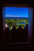 A VIEW FROM A GUARD TOWER AT FORT MACKINAC ON MACKINAC ISLAN, MICHIGAN.