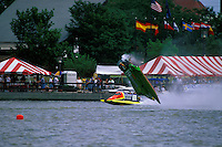 Frame 8: Halfway around the first lap, Wyatt Nelson (#39) blows the boat over crashing back to the water. Nelson was unhurt in the crash. (SST-120 class) Bay City, MI 1998