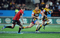 Chiefs Tim Nanai-Williams, right, runs away from the Crusaders Andy Ellis in the Super 15 Rugby semi final match, Waikato Stadium, New Zealand, Friday, July 27, 2012. Credit:SNPA / Ross Setford