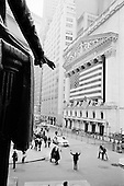 New York, New York<br /> March 14, 2008 <br /> <br /> Outside the New York Stock Exchange on the day Bear Stearns investors bailed out en masse and stock shares fell sharply. <br /> <br /> On Sunday March 16 Federal Reserve would bail out Bear Stearns with a $30 billion investment along side JP Morgan fearing a global economic crisis as the Asian markets opened.