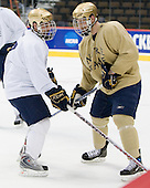 Kevin Deeth (Notre Dame - 21), Ryan Thang (Notre Dame - 9) - The 2008 Frozen Four participants practiced on Wednesday, April 9, 2008, at the Pepsi Center in Denver, Colorado.
