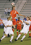 Clemson's Randy Albright (12) heads the ball on Wednesday, November 9th, 2005 at SAS Stadium in Cary, North Carolina. The Clemson Tigers defeated the University of Virginia Cavaliers 4-1 during their Atlantic Coast Conference Tournament Quarterfinal game.