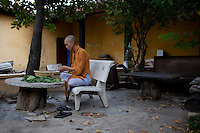 Buddhist monk Minh Thien, 29, chops vegetables in preparation for dinner at the Giac Vien Pagoda in District 11 in Ho Chi Minh City, Vietnam. Photo taken Monday, May 3, 2010..Kevin German / LUCEO