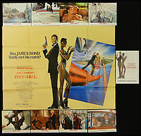 BNPS.co.uk (01202 558833)<br /> Pic: Burstow&amp;Hewett/BNPS<br /> <br /> A View to a Kill - James Bond 007 film posters and a set of 8 lobby cards.<br /> <br /> A late film buff's collection of 400 vintage movie posters has emerged for auction and is tipped to sell for &pound;15,000.<br /> <br /> The collection was amassed by a man who worked for several decades at the Marble Arch Odeon cinema in London which in its heyday was one of the capital's flagship cinemas.<br /> <br /> He sadly died a couple of years ago but bestowed the posters - which once were on display in the cinema - to a life-long friend who has decided to put them on the market.<br /> <br /> Many of the posters are from classic film franchises including Star Wars and James Bond as well as iconic Disney films such as Snow White and the Seven Dwarfs and Cinderella.