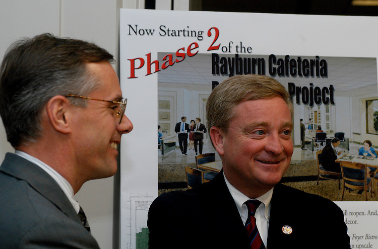 rayburncafe3/031103  - Rep. Bob Ney (R), R-Oh, with Jay Egan, House Chief Administration Officer, after reviewing part of the newly renovated Rayburn cafeteria.
