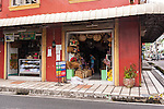 """I walked by this small sundries shop in Lucban every morning, on the way to the jeepney stand for my """"commute"""" to Sampaloc.  Note the buri products on display.  (Lucban, Quezon Province, the Philippines)"""