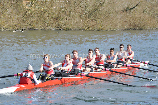 026 IM1.8+ Kingston RC..Reading University Boat Club Head of the River 2012. Eights only. 4.6Km downstream on the Thames form Dreadnaught Reach and Pipers Island, Reading. Saturday 25 February 2012.