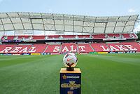 SANDY, UT - July 13, 2013: Game ball for the USA vs Cuba match at Rio Tinto Stadium in Sandy, Utah. Final score USA 4, Cuba 1.