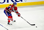 26 October 2009: Montreal Canadiens' defenseman Josh Gorges in action during the first period against the New York Islanders at the Bell Centre in Montreal, Quebec, Canada. The Canadiens defeated the Islanders 3-2 in sudden death overtime for their 4th consecutive win. Mandatory Credit: Ed Wolfstein Photo