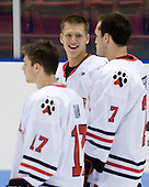 Luke Eibler (Northeastern - 20) joins his fellow Husky starters. - The visiting Niagara University Purple Eagles defeated the Northeastern University Huskies 4-1 on Friday, November 5, 2010, at Matthews Arena in Boston, Massachusetts.